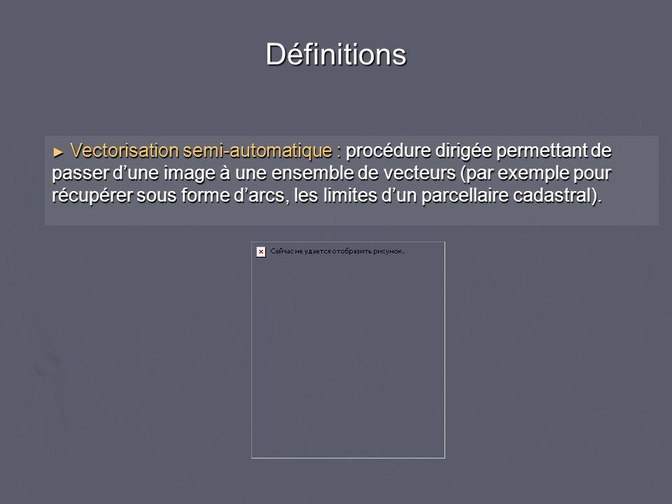 Vectorisation semi-automatique : procédure dirigée permettant de passer dune image à une ensemble de vecteurs (par exemple pour récupérer sous forme d