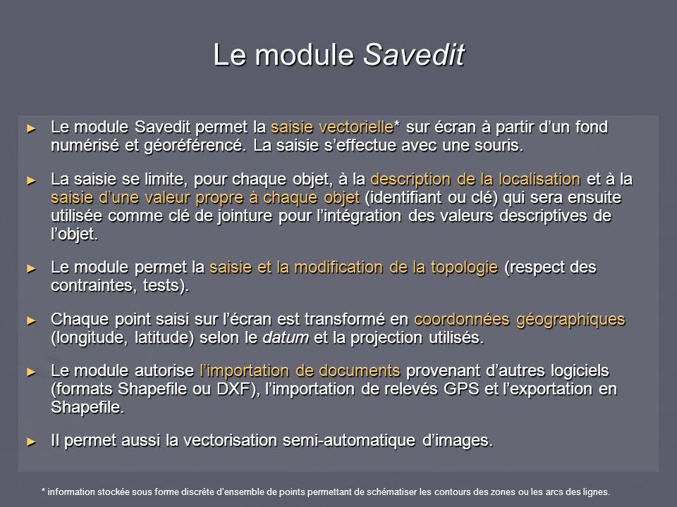 Le module Savedit permet la saisie vectorielle* sur écran à partir dun fond numérisé et géoréférencé. La saisie seffectue avec une souris. Le module S