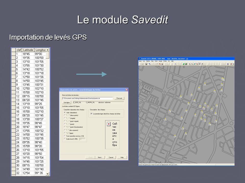 Importation de levés GPS Le module Savedit