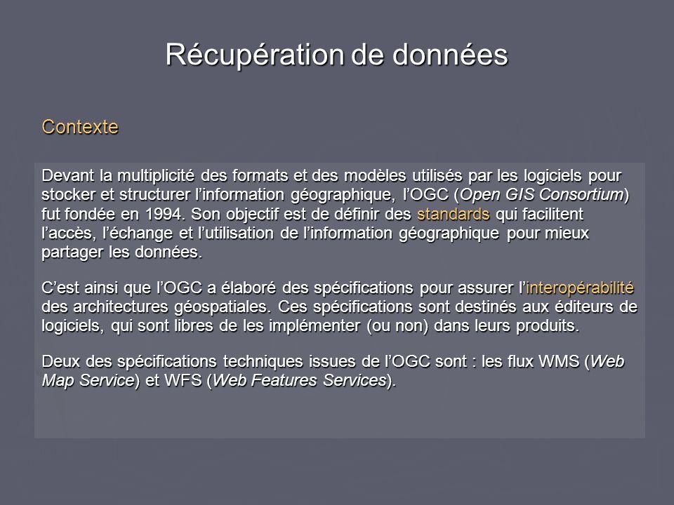Devant la multiplicité des formats et des modèles utilisés par les logiciels pour stocker et structurer linformation géographique, lOGC (Open GIS Cons