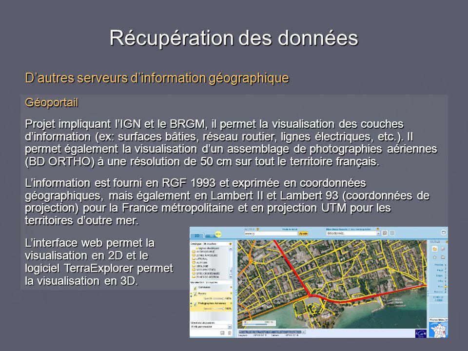 Géoportail Projet impliquant lIGN et le BRGM, il permet la visualisation des couches dinformation (ex: surfaces bâties, réseau routier, lignes électri