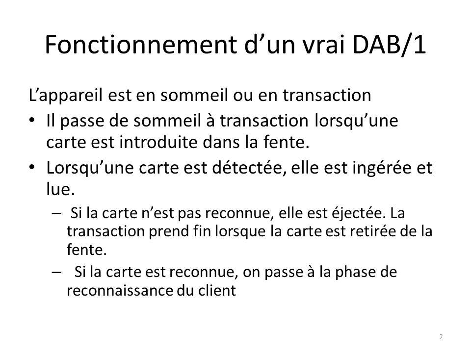 Fonctionnement dun vrai DAB/1 Lappareil est en sommeil ou en transaction Il passe de sommeil à transaction lorsquune carte est introduite dans la fent
