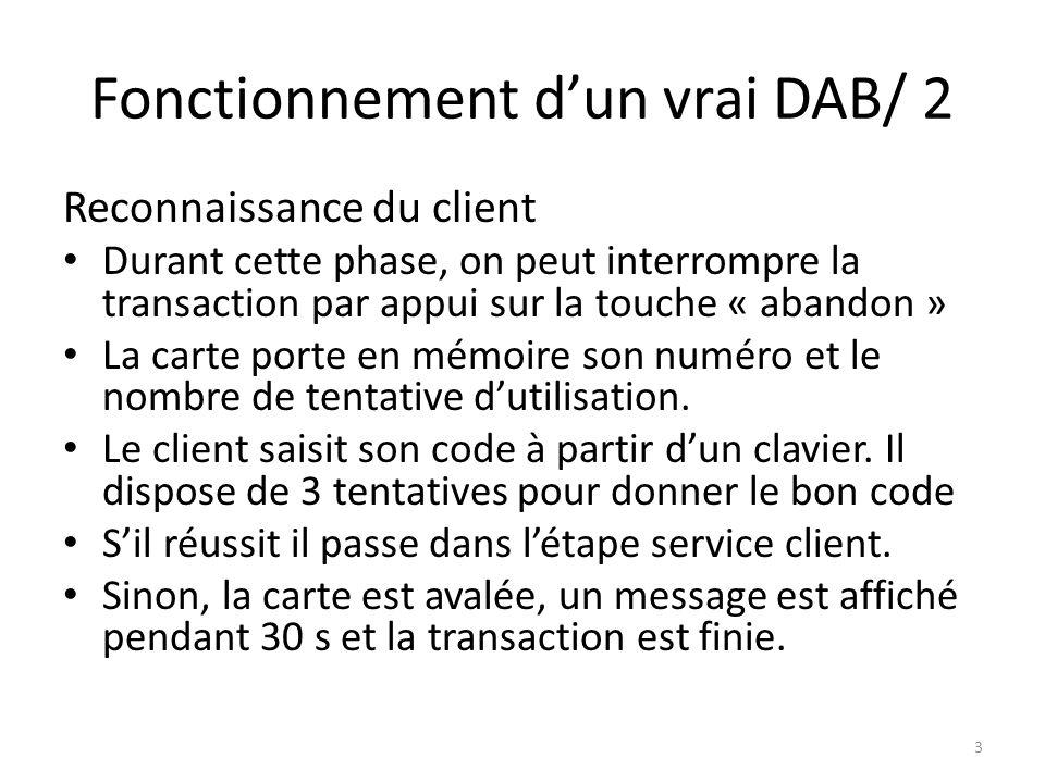 Fonctionnement dun vrai DAB/ 2 Reconnaissance du client Durant cette phase, on peut interrompre la transaction par appui sur la touche « abandon » La