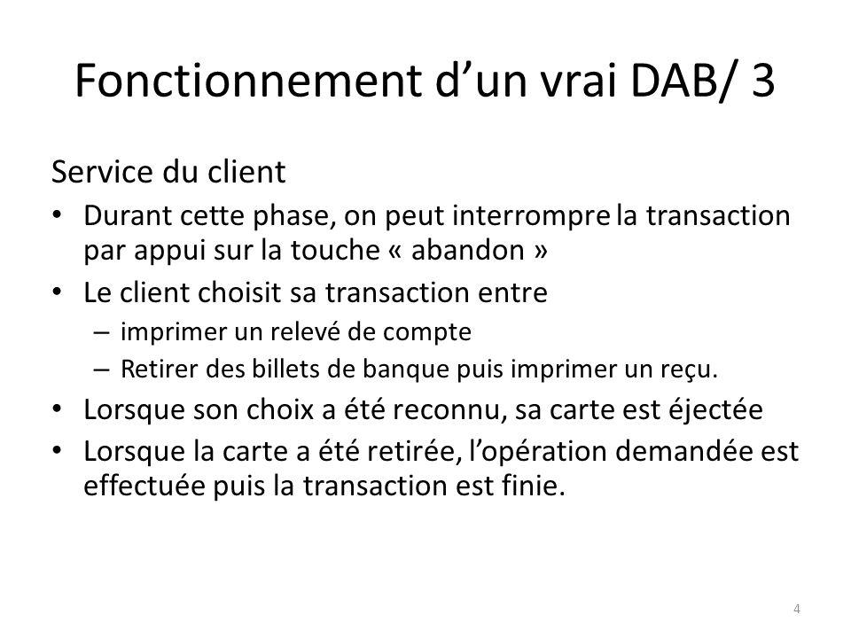 Fonctionnement dun vrai DAB/ 3 Service du client Durant cette phase, on peut interrompre la transaction par appui sur la touche « abandon » Le client