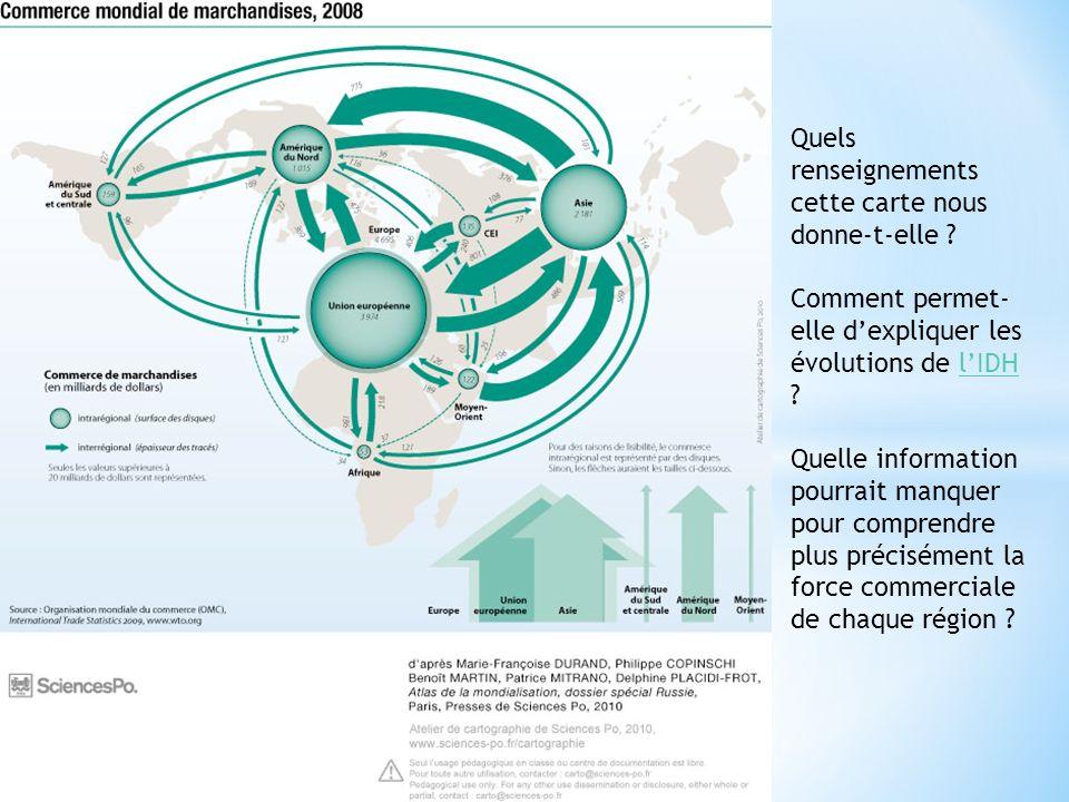 Quels renseignements cette carte nous donne-t-elle ? Comment permet- elle dexpliquer les évolutions de lIDH ?lIDH Quelle information pourrait manquer
