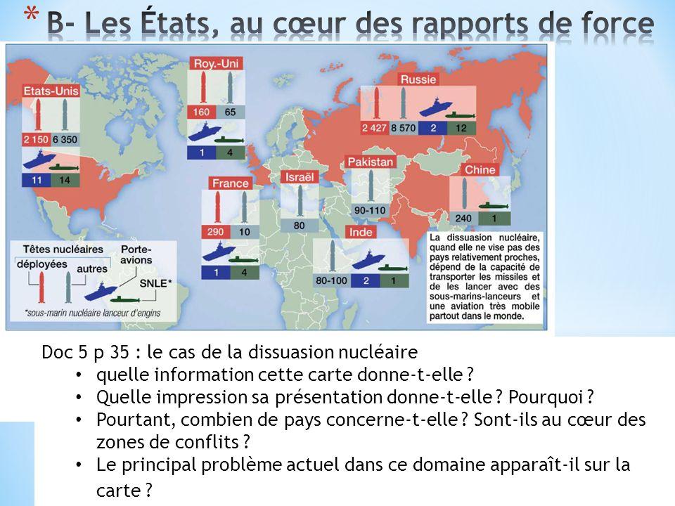 Doc 5 p 35 : le cas de la dissuasion nucléaire quelle information cette carte donne-t-elle ? Quelle impression sa présentation donne-t-elle ? Pourquoi