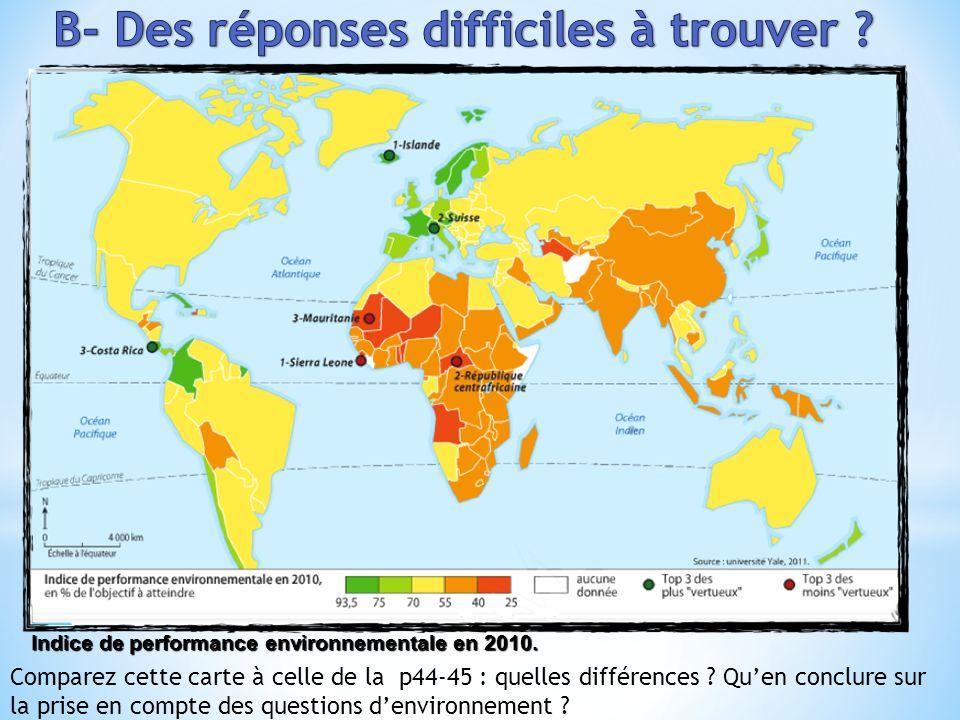 Indice de performance environnementale en 2010. Comparez cette carte à celle de la p44-45 : quelles différences ? Quen conclure sur la prise en compte