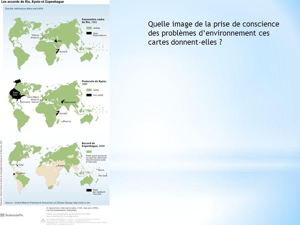 Quelle image de la prise de conscience des problèmes denvironnement ces cartes donnent-elles ?