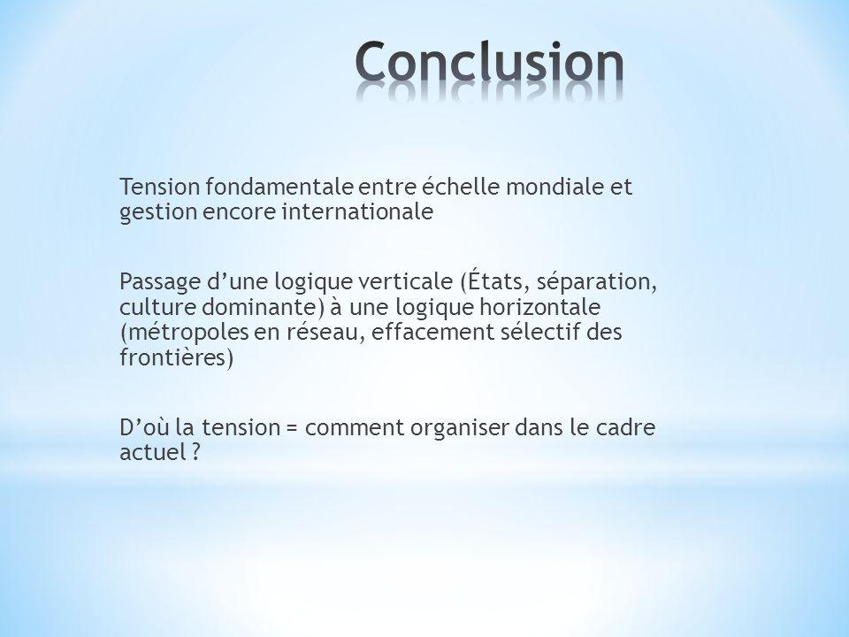 Tension fondamentale entre échelle mondiale et gestion encore internationale Passage dune logique verticale (États, séparation, culture dominante) à u