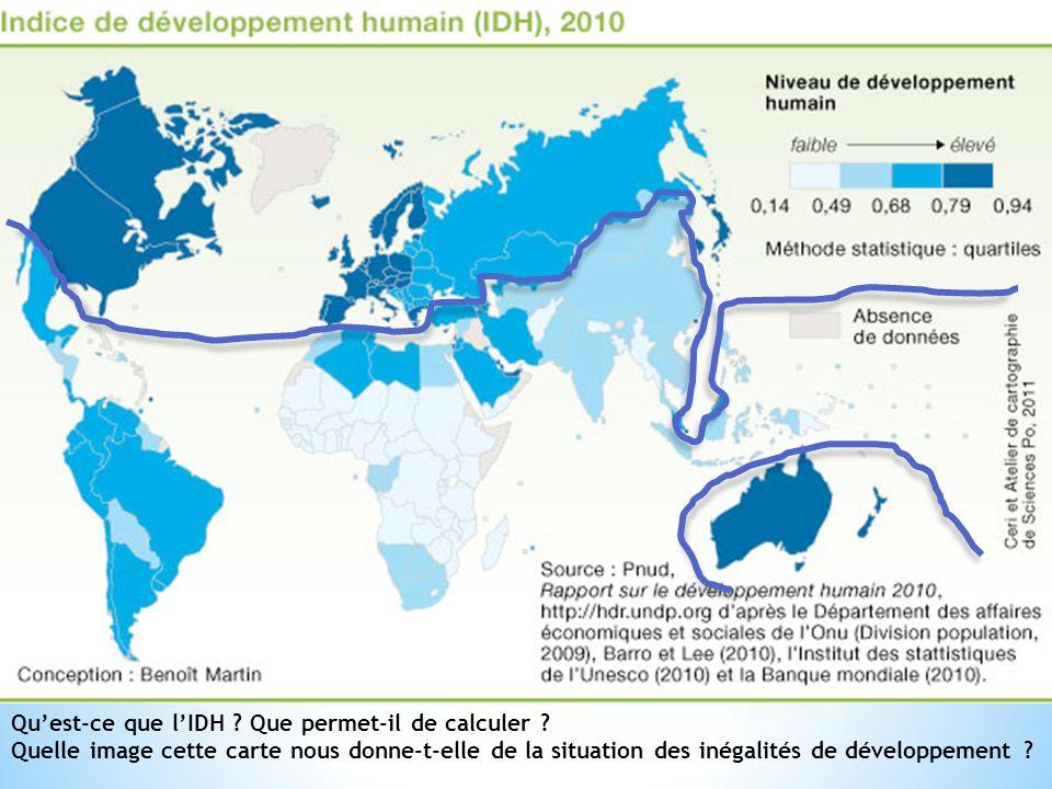 Quest-ce que lIDH ? Que permet-il de calculer ? Quelle image cette carte nous donne-t-elle de la situation des inégalités de développement ?