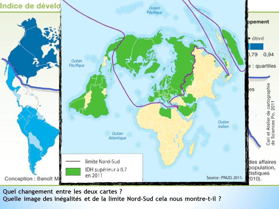 Quel changement entre les deux cartes ? Quelle image des inégalités et de la limite Nord-Sud cela nous montre-t-il ?