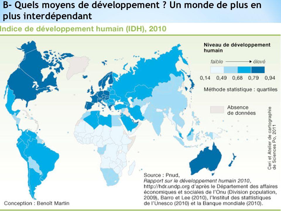 B- Quels moyens de développement ? Un monde de plus en plus interdépendant