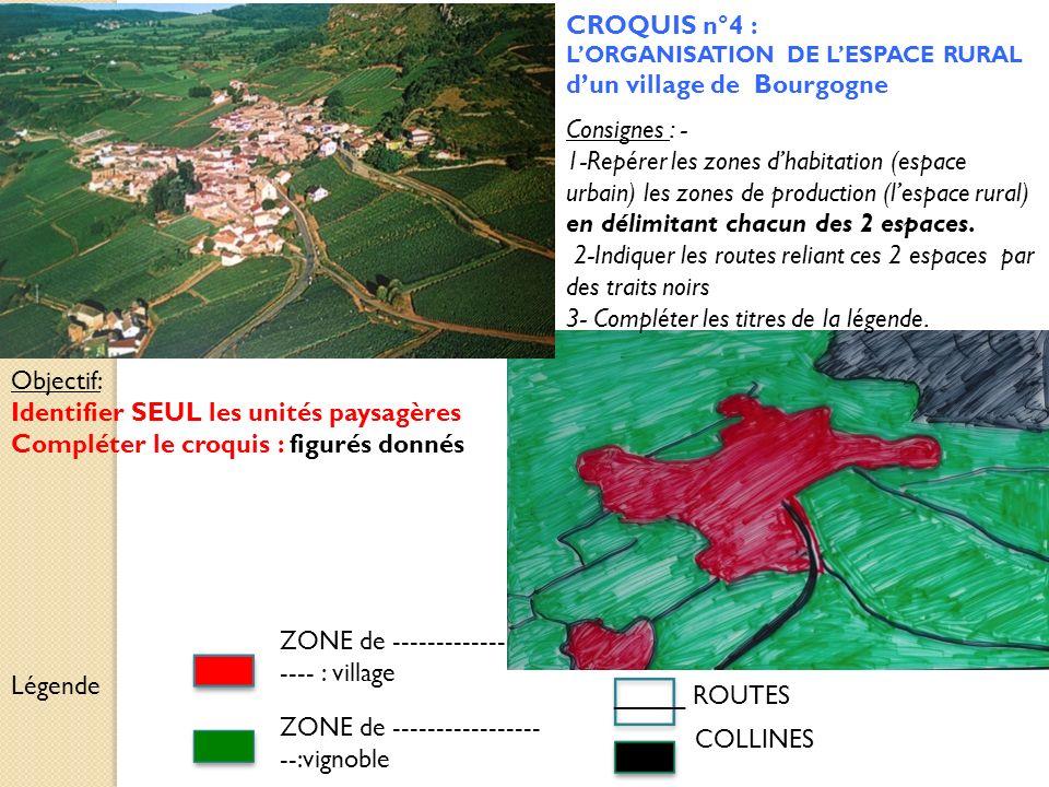 CROQUIS n°4 : LORGANISATION DE LESPACE RURAL dun village de Bourgogne ZONE de ---------------- ---- : village ZONE de ----------------- --:vignoble CO