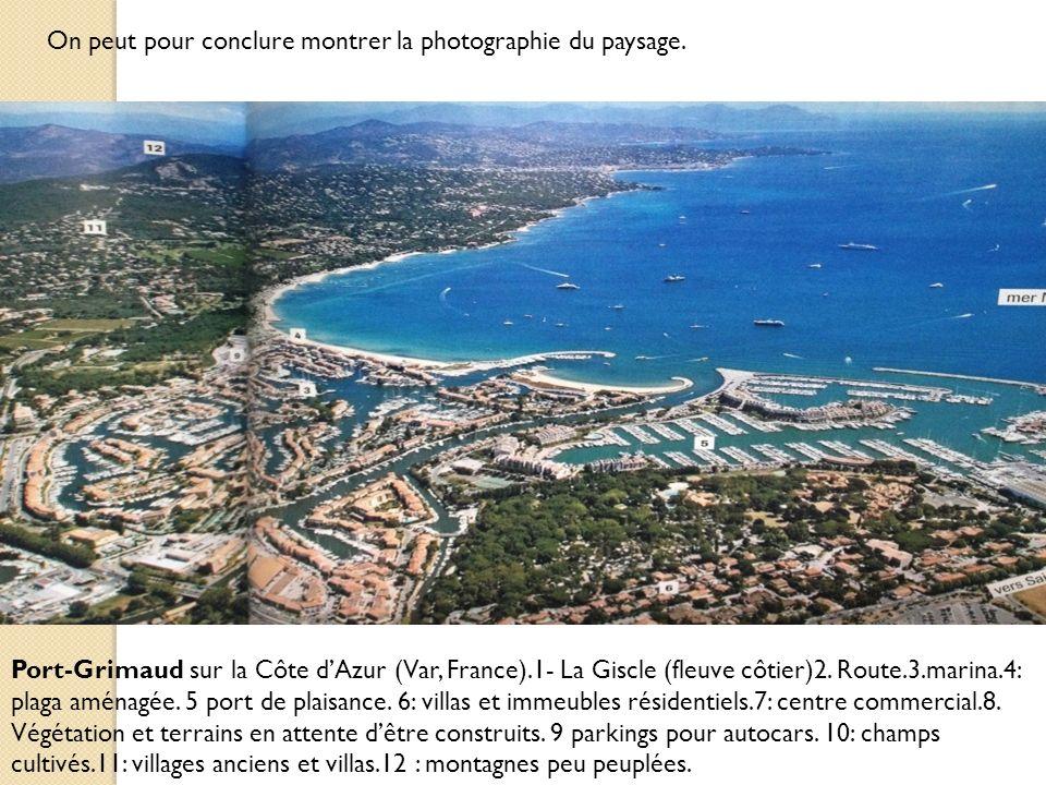 Port-Grimaud sur la Côte dAzur (Var, France).1- La Giscle (fleuve côtier)2. Route.3.marina.4: plaga aménagée. 5 port de plaisance. 6: villas et immeub