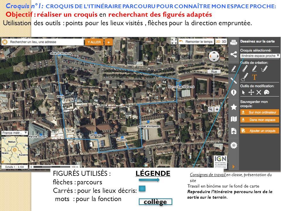 Croquis n°1: CROQUIS DE LITINÉRAIRE PARCOURU POUR CONNAÎTRE MON ESPACE PROCHE: Objectif : réaliser un croquis en recherchant des figurés adaptés Utili