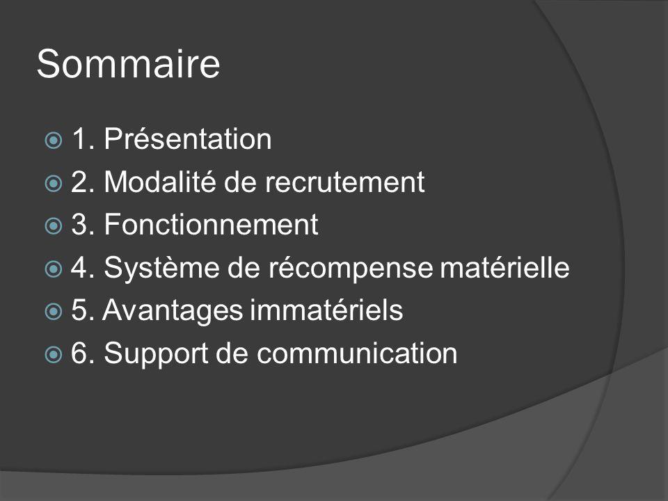 Sommaire 1.Présentation 2. Modalité de recrutement 3.
