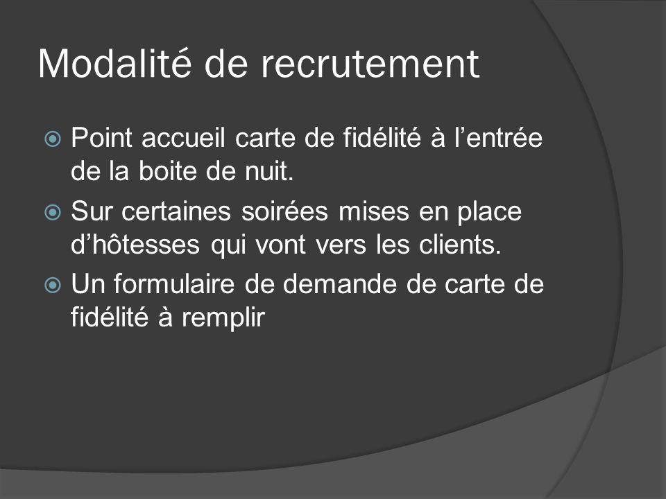 Modalité de recrutement Point accueil carte de fidélité à lentrée de la boite de nuit.