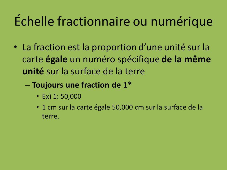 Échelle fractionnaire ou numérique La fraction est la proportion dune unité sur la carte égale un numéro spécifique de la même unité sur la surface de la terre – Toujours une fraction de 1* Ex) 1: 50,000 1 cm sur la carte égale 50,000 cm sur la surface de la terre.