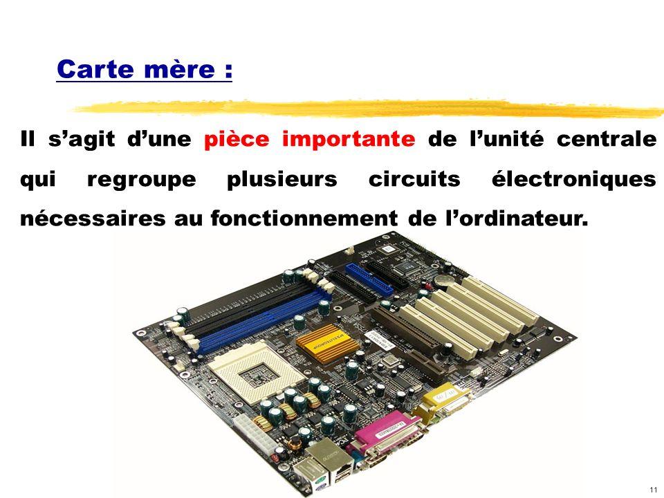 11 Carte mère : Il sagit dune pièce importante de lunité centrale qui regroupe plusieurs circuits électroniques nécessaires au fonctionnement de lordinateur.