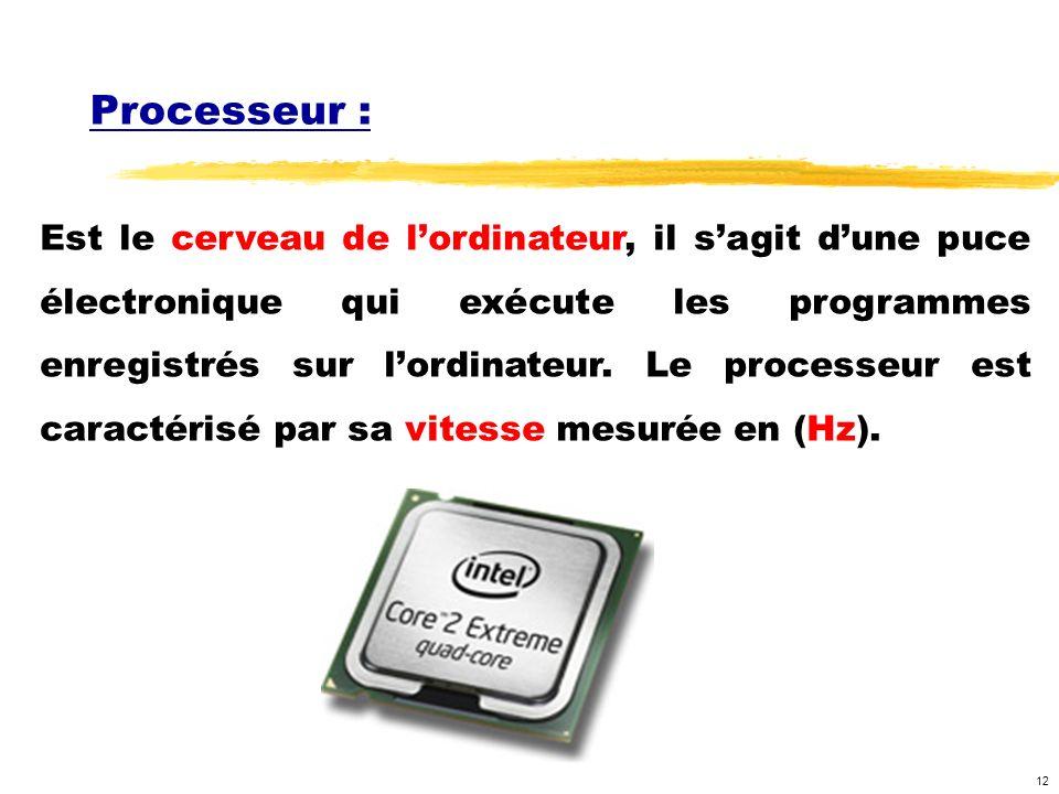 12 Processeur : Est le cerveau de lordinateur, il sagit dune puce électronique qui exécute les programmes enregistrés sur lordinateur. Le processeur e