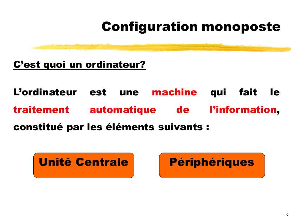 6 Cest quoi un ordinateur? Unité CentralePériphériques Configuration monoposte Lordinateur est une machine qui fait le traitement automatique de linfo
