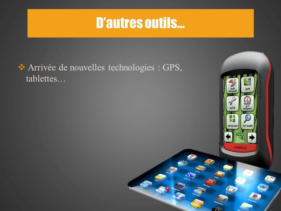 Dautres outils… 17 Arrivée de nouvelles technologies : GPS, tablettes…