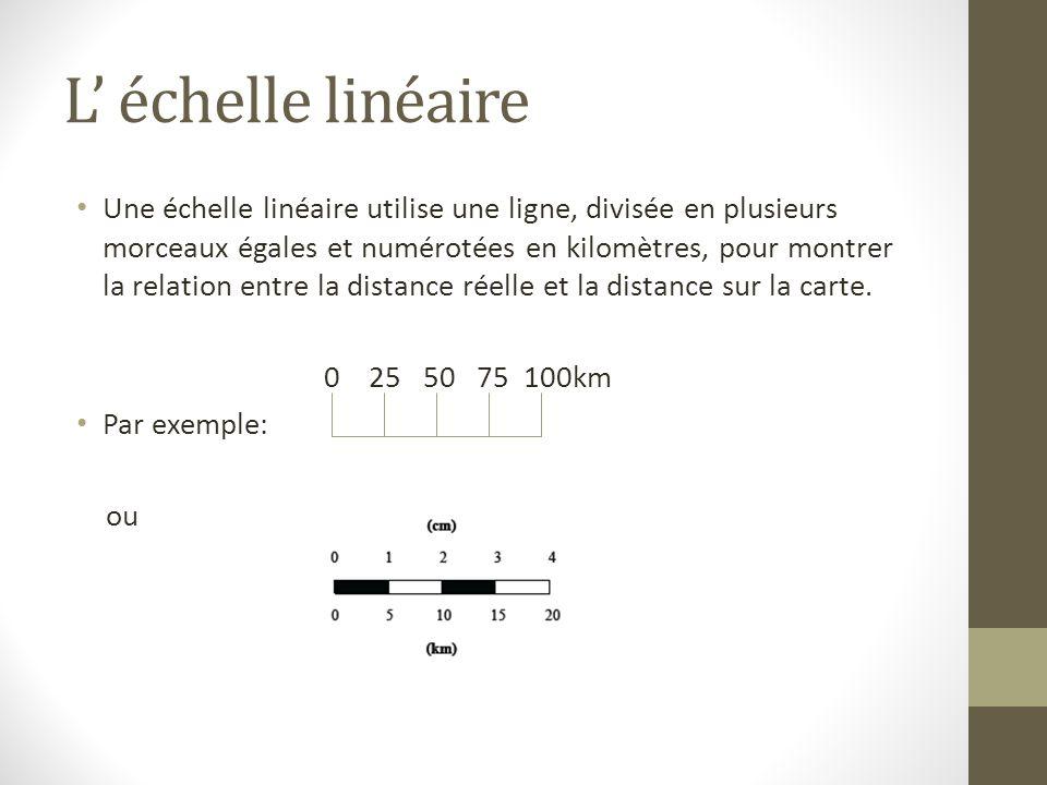 L échelle linéaire Une échelle linéaire utilise une ligne, divisée en plusieurs morceaux égales et numérotées en kilomètres, pour montrer la relation