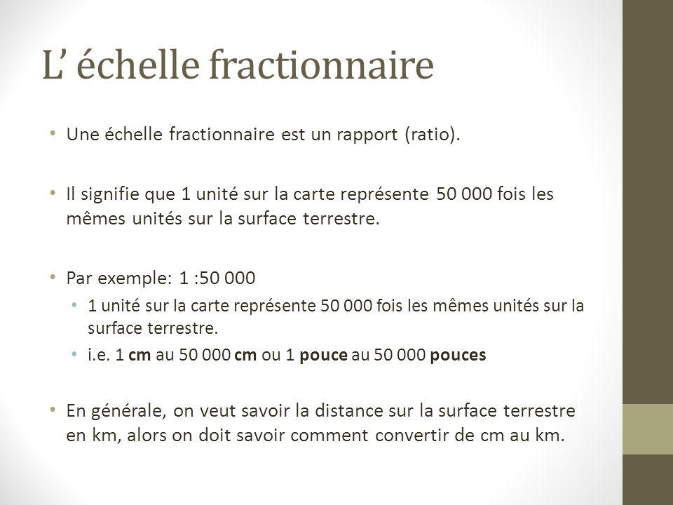 Convertir les unités 1 km = 100 000 cm Si on a l échelle 1: 50 000 50 000cm est inutile, alors on veut convertir aux kilomètres: 50 000cm x 1 km 100 000cm = 50 000 (1km) 100 000 = 0,5km Donc on peut représenter 1: 50 000 comme 1cm au 0,5 km