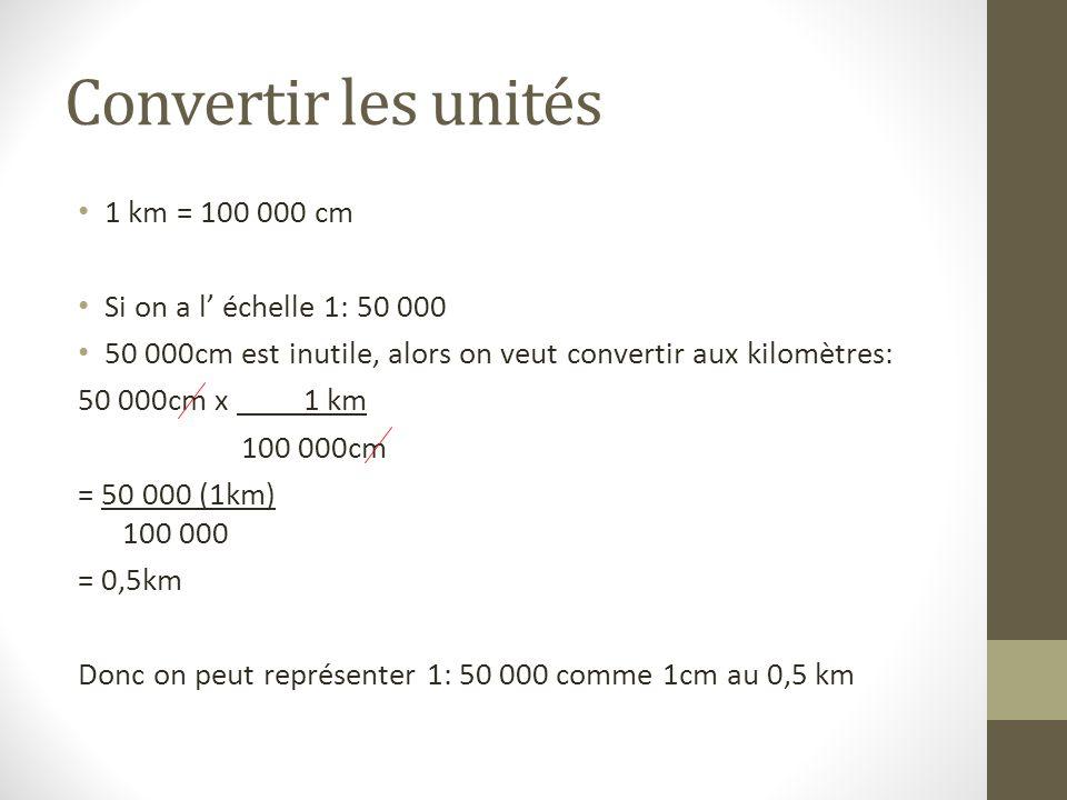 Convertir les unités 1 km = 100 000 cm Si on a l échelle 1: 50 000 50 000cm est inutile, alors on veut convertir aux kilomètres: 50 000cm x 1 km 100 0
