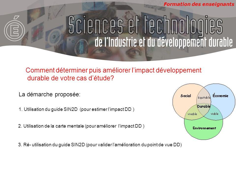 Formation des enseignants 1. Utilisation du guide SIN2D (pour estimer limpact DD ) Comment déterminer puis améliorer limpact développement durable de