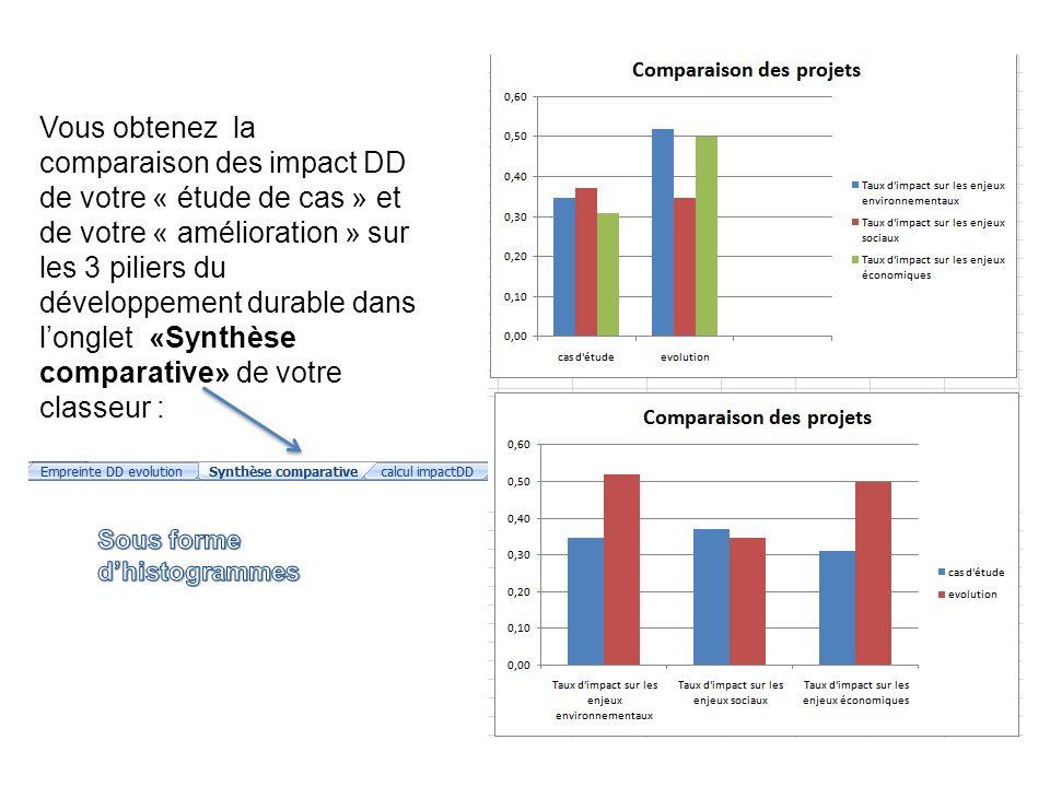 Vous obtenez la comparaison des impact DD de votre « étude de cas » et de votre « amélioration » sur les 3 piliers du développement durable dans longlet «Synthèse comparative» de votre classeur :
