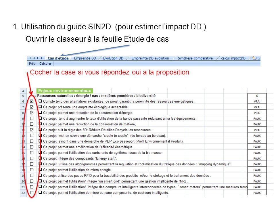 1. Utilisation du guide SIN2D (pour estimer limpact DD ) Cocher la case si vous répondez oui a la proposition Ouvrir le classeur à la feuille Etude de