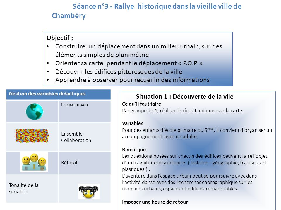 Séance n°3 - Rallye historique dans la vieille ville de Chambéry Objectif : Construire un déplacement dans un milieu urbain, sur des éléments simples