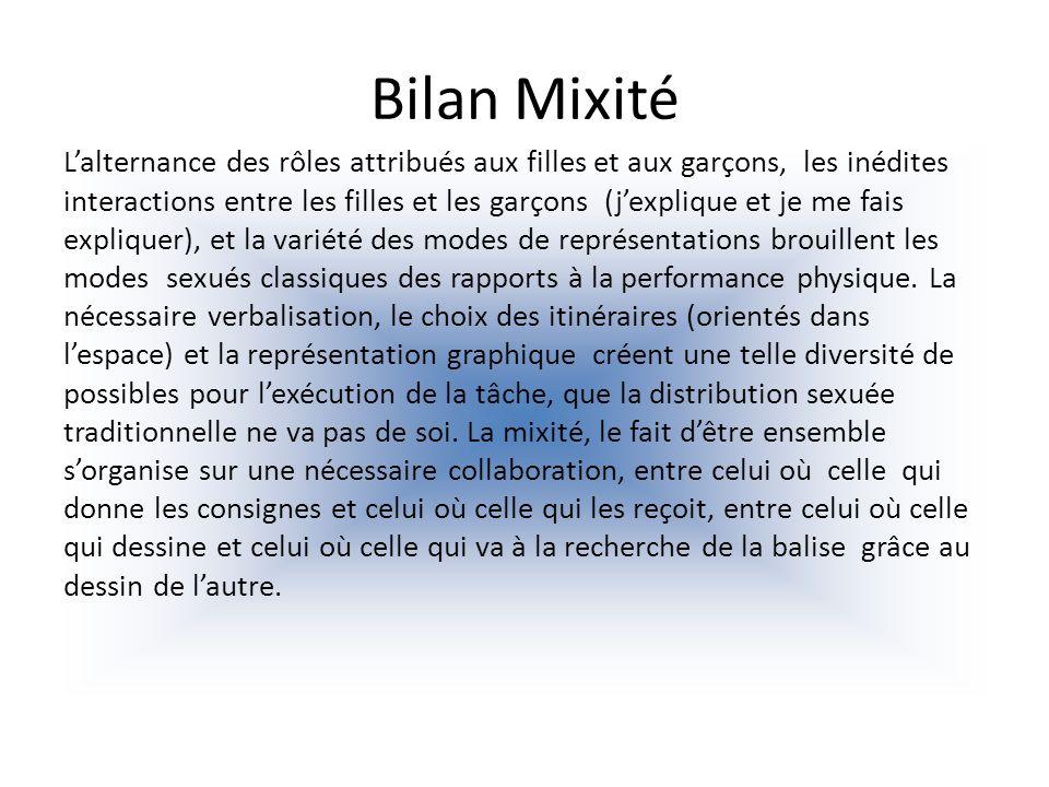 Bilan Mixité Lalternance des rôles attribués aux filles et aux garçons, les inédites interactions entre les filles et les garçons (jexplique et je me