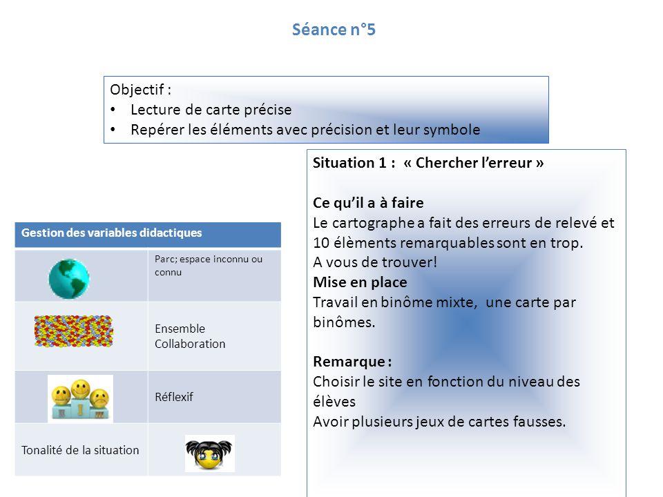 Séance n°5 Objectif : Lecture de carte précise Repérer les éléments avec précision et leur symbole Gestion des variables didactiques Parc; espace inco
