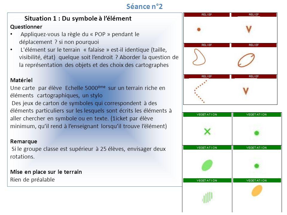 Séance n°2 Situation 1 : Du symbole à lélément Questionner Appliquez-vous la règle du « POP » pendant le déplacement ? si non pourquoi L'élément sur l