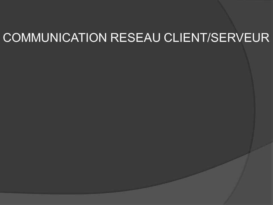 COMMUNICATION RESEAU CLIENT/SERVEUR