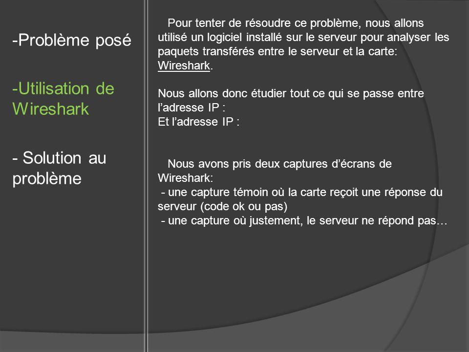 -Problème posé -Utilisation de Wireshark - Solution au problème Pour tenter de résoudre ce problème, nous allons utilisé un logiciel installé sur le s