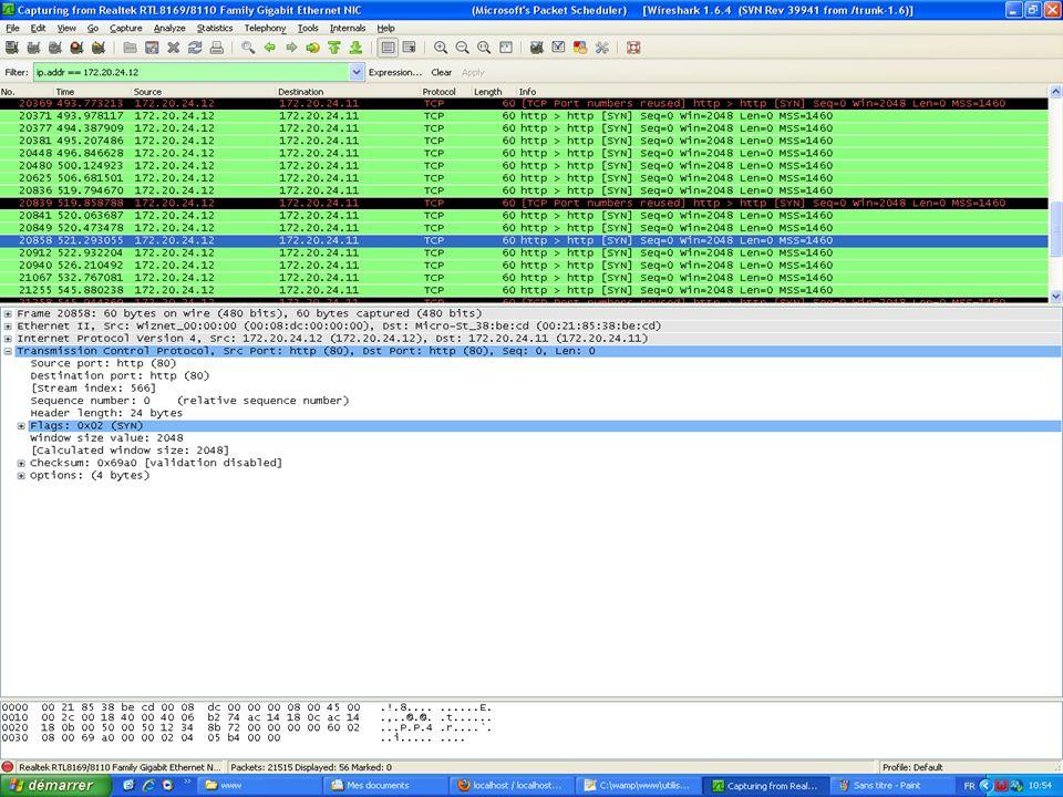 -Problème posé -Utilisation de Wireshark -Solution au problème En conclusion: - Nous avons pu isoler le problème, la connexion ne pouvait sétablir et la carte envoyait en boucle des requêtes de synchronisation.