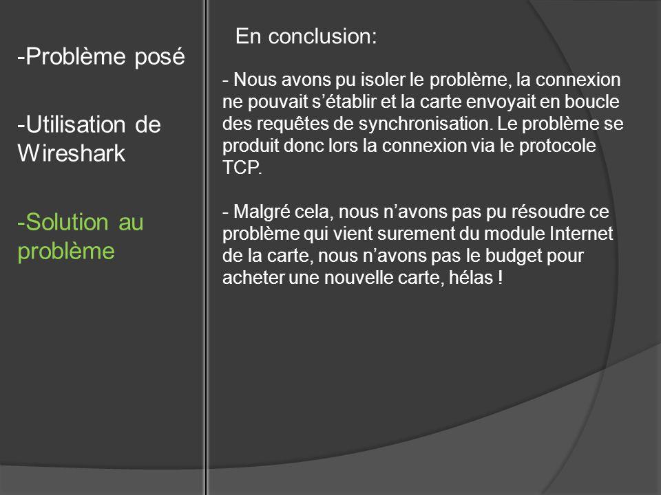 -Problème posé -Utilisation de Wireshark -Solution au problème En conclusion: - Nous avons pu isoler le problème, la connexion ne pouvait sétablir et