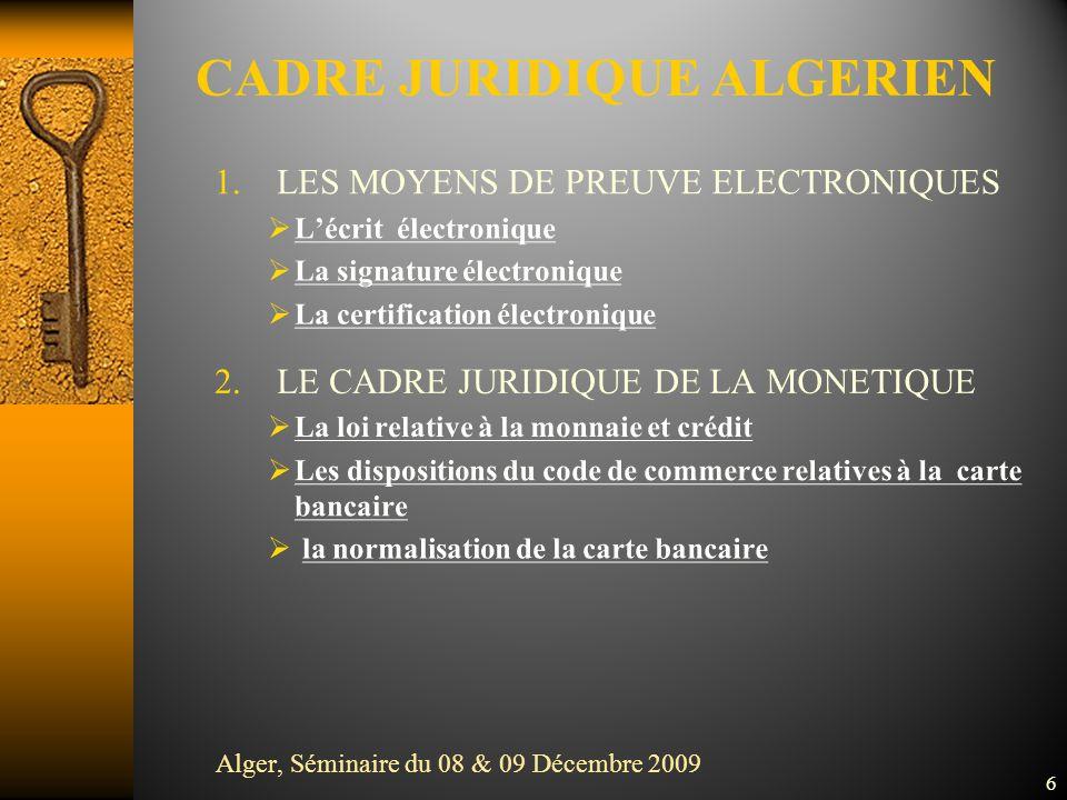 6 CADRE JURIDIQUE ALGERIEN