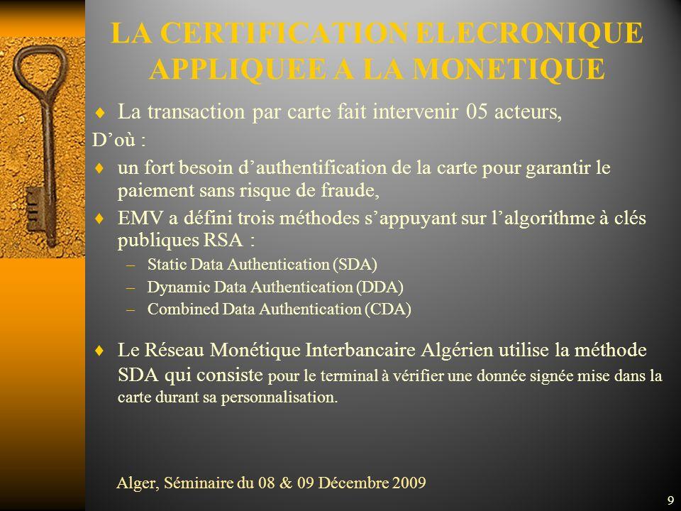 La transaction par carte fait intervenir 05 acteurs, Doù : un fort besoin dauthentification de la carte pour garantir le paiement sans risque de fraude, EMV a défini trois méthodes sappuyant sur lalgorithme à clés publiques RSA : –Static Data Authentication (SDA) –Dynamic Data Authentication (DDA) –Combined Data Authentication (CDA) Le Réseau Monétique Interbancaire Algérien utilise la méthode SDA qui consiste pour le terminal à vérifier une donnée signée mise dans la carte durant sa personnalisation.