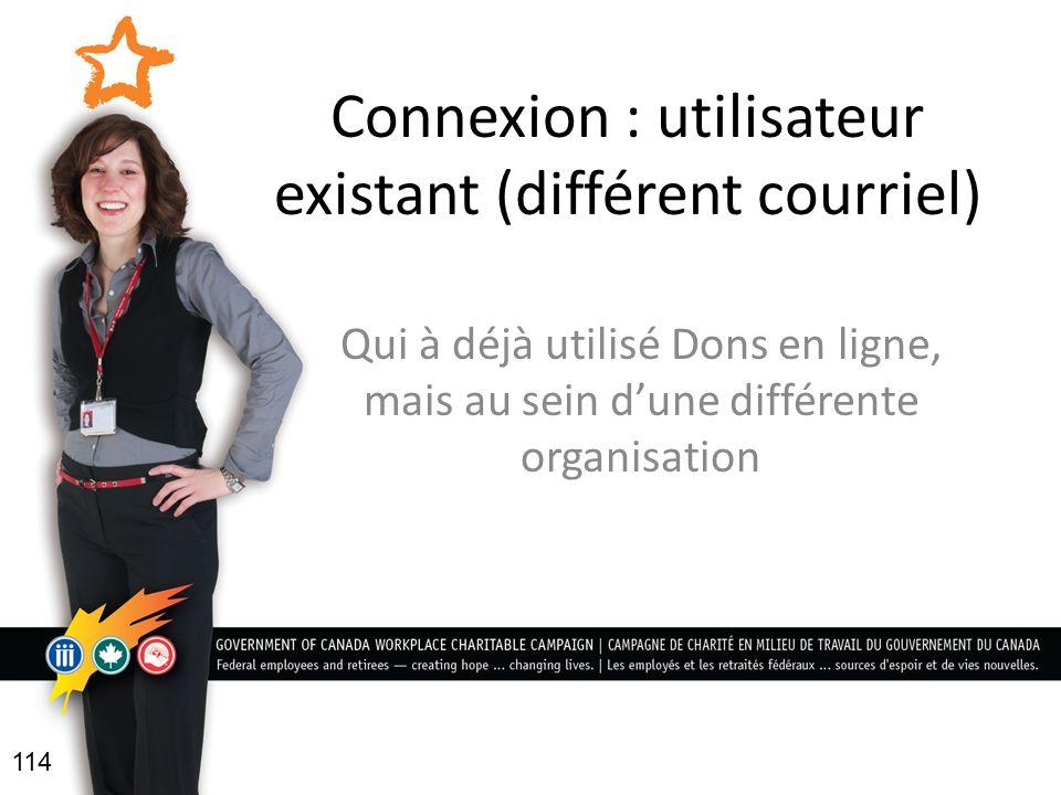 Connexion : utilisateur existant (différent courriel) Qui à déjà utilisé Dons en ligne, mais au sein dune différente organisation 114