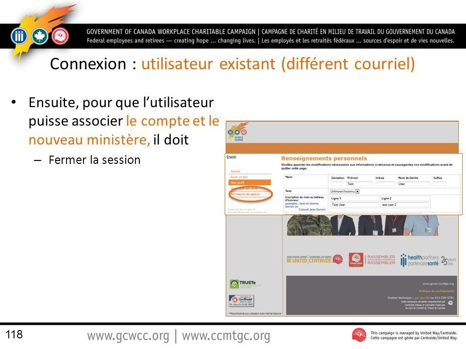 Connexion : utilisateur existant (différent courriel) Ensuite, pour que lutilisateur puisse associer le compte et le nouveau ministère, il doit – Fermer la session 118