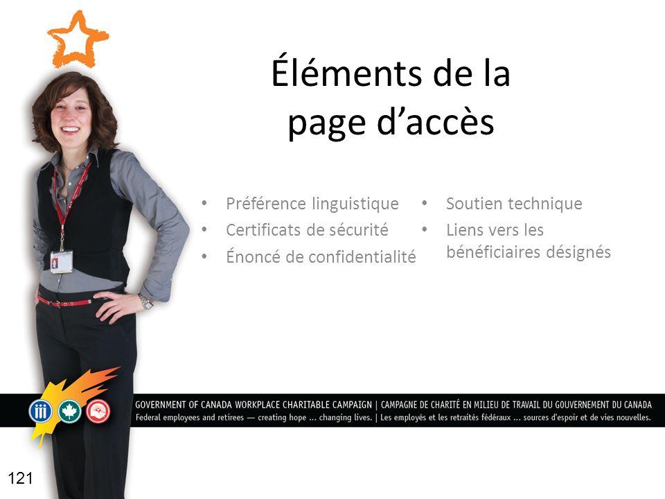 Éléments de la page daccès Préférence linguistique Certificats de sécurité Énoncé de confidentialité Soutien technique Liens vers les bénéficiaires désignés 121