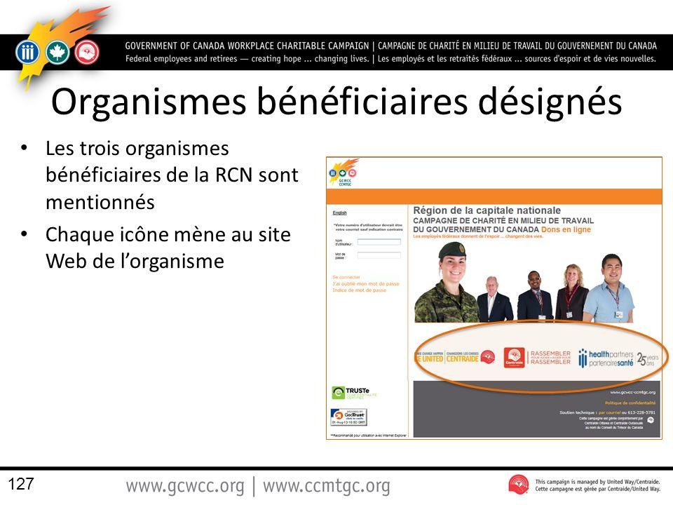 Organismes bénéficiaires désignés Les trois organismes bénéficiaires de la RCN sont mentionnés Chaque icône mène au site Web de lorganisme 127
