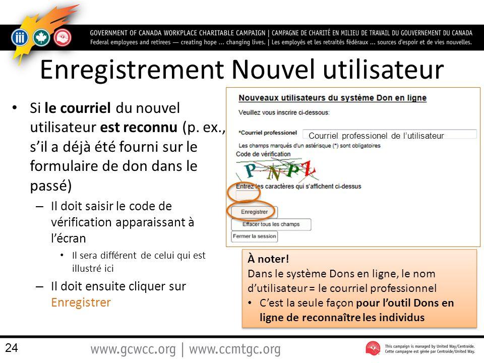 Enregistrement Nouvel utilisateur Si le courriel du nouvel utilisateur est reconnu (p.