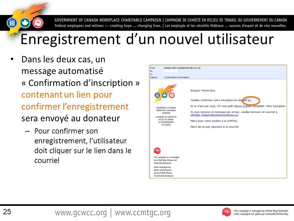 Enregistrement dun nouvel utilisateur Dans les deux cas, un message automatisé « Confirmation dinscription » contenant un lien pour confirmer lenregistrement sera envoyé au donateur – Pour confirmer son enregistrement, lutilisateur doit cliquer sur le lien dans le courriel 25