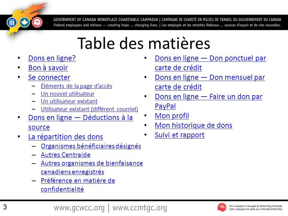 Table des matières Dons en ligne.