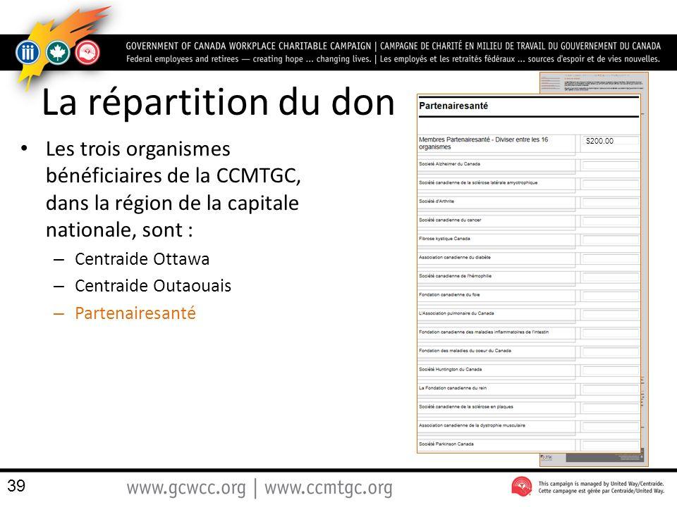 La répartition du don Les trois organismes bénéficiaires de la CCMTGC, dans la région de la capitale nationale, sont : – Centraide Ottawa – Centraide Outaouais – Partenairesanté 39 $200.00